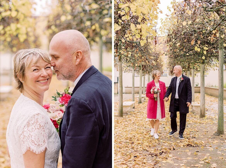 Brautpaar im Herbstwetter