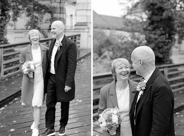Schwarz Weiß Fotos eines Brautpaars