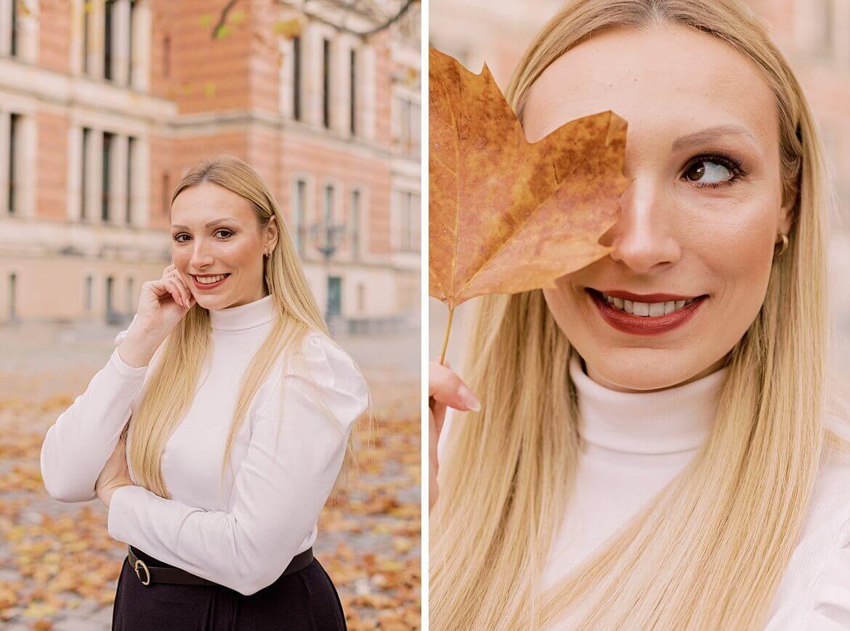 Portrait von Vivian Anna mit Herbstblatt