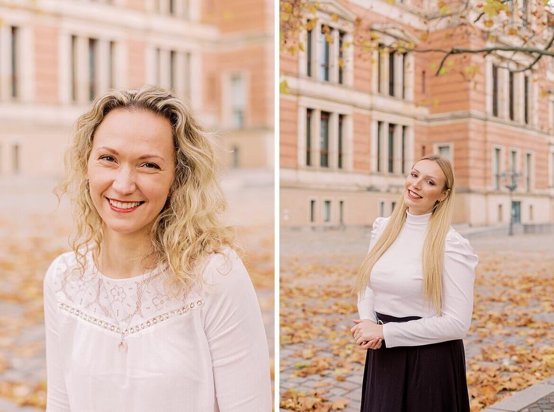 Portraits von blonden Frauen, die lachen