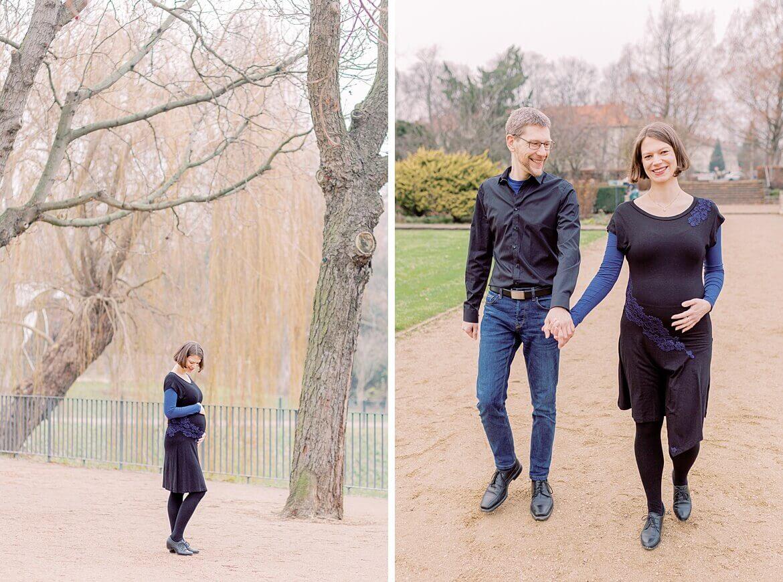 Werdende Mama und werdender Papa im Park