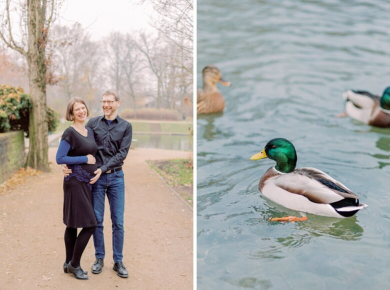 Schwangeres Paar und Enten im Park