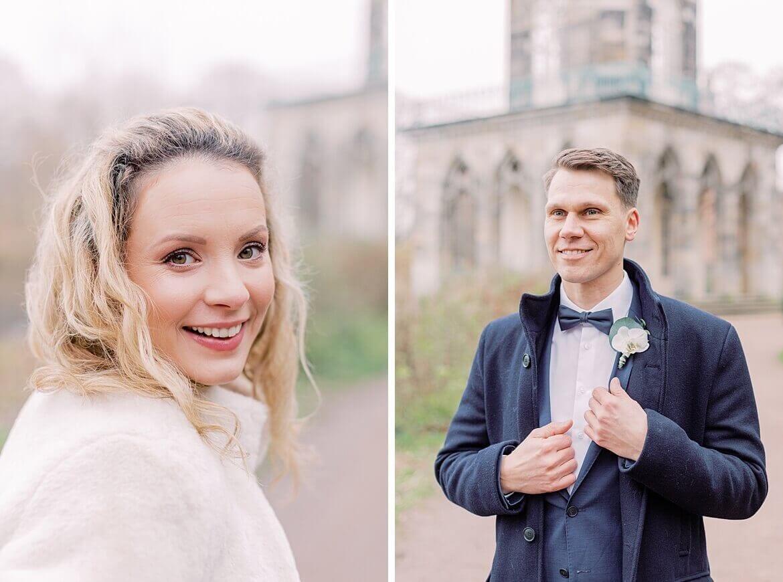 Brautpaar im Winter im Park mit Schwan