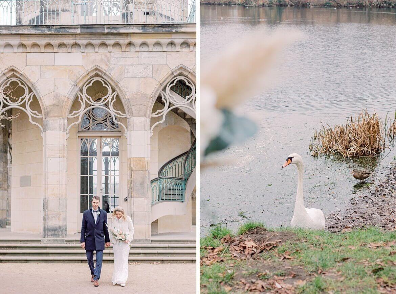 Brautpaar und Schwan auf See
