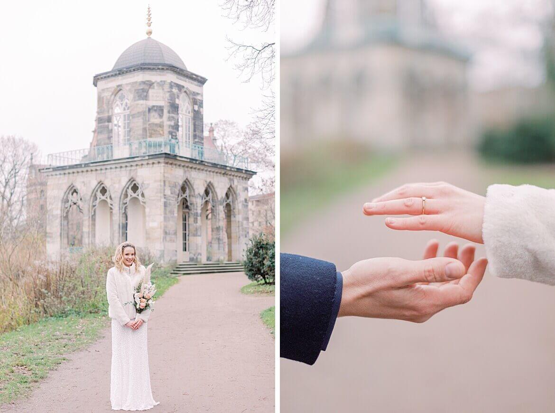 Braut im Winter im Park