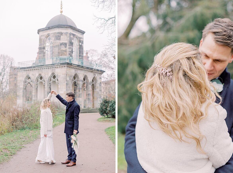 Brautpaar im Winter im Park