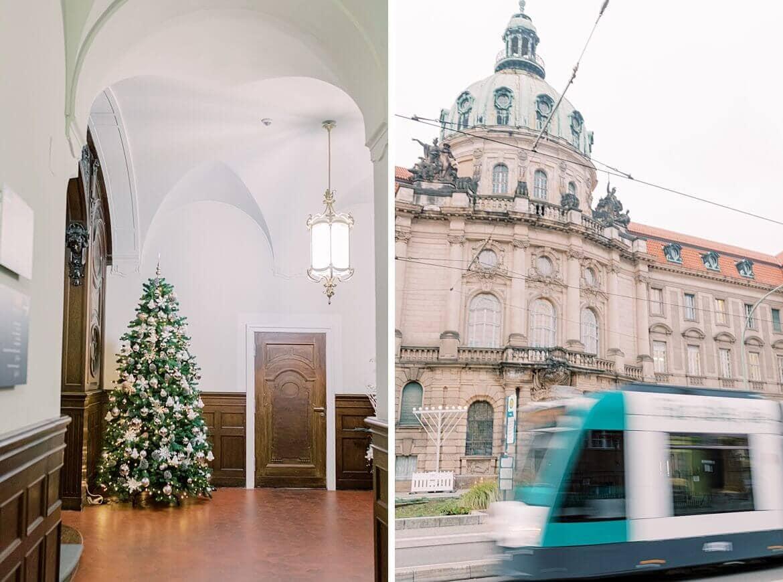Rathaus Potsdam mit Tram und Weihnachtsbaum
