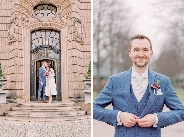 Brautpaar vor Standesamt und Bräutigam