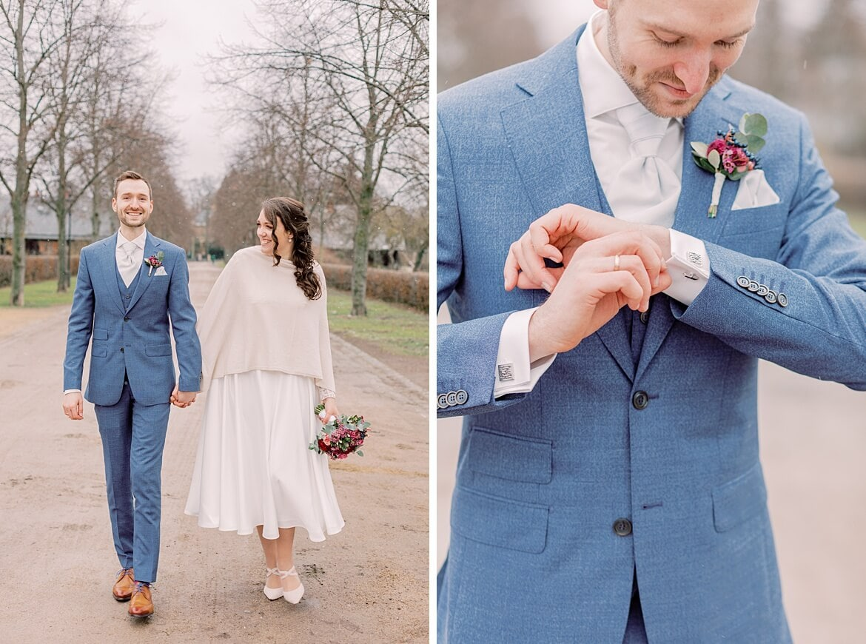 Brautpaar läuft und Bräutigam schaut auf seine Manschettenknöpfe