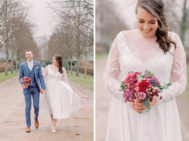 Braut mit winterlichen Bouquet