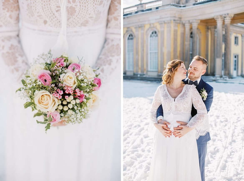Brautpaar im Schnee