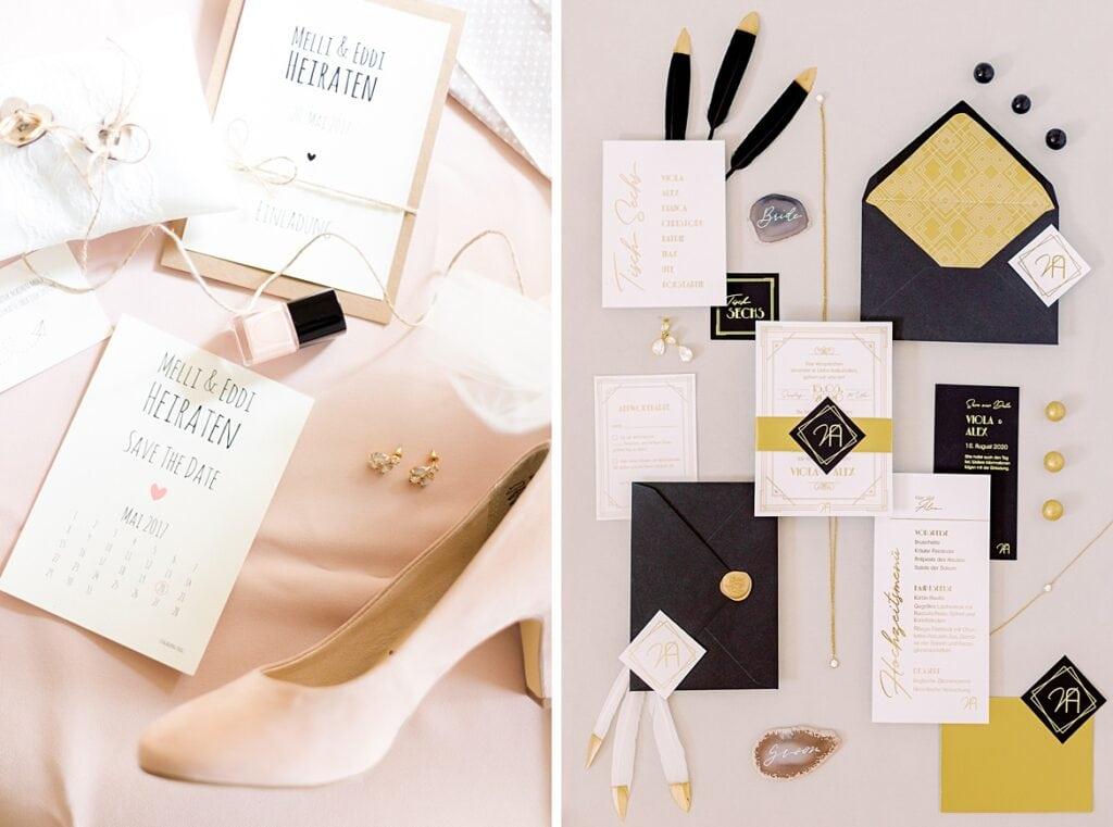 Bridal Details als Flatlay vorher nachher