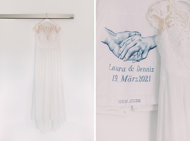 Brautkleid und bemalte Jeansjacke