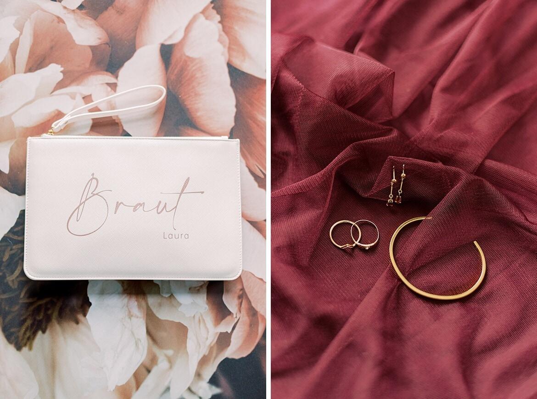 Handtasche mit Braut Schriftzug und Schmuck