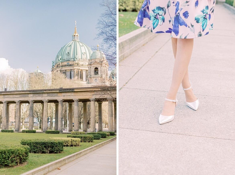Schuhe einer Frau und Berliner Dom