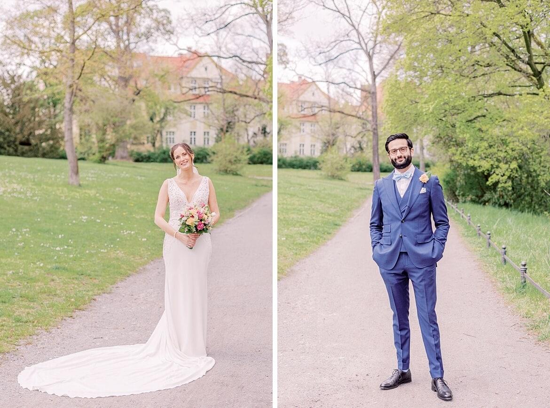 Braut und Bräutigam als Einzelportraits im Stadtpark Steglitz