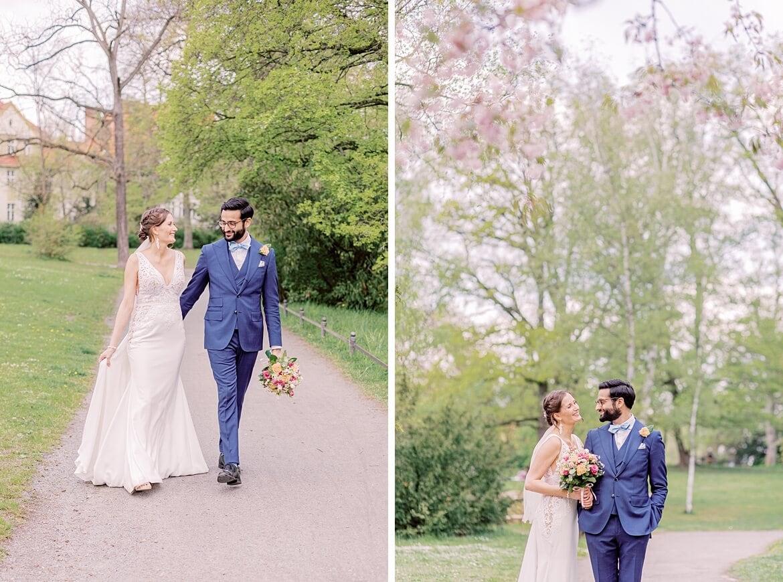 Brautpaar inmitten von Frühlingsgrün im Stadtpark Steglitz