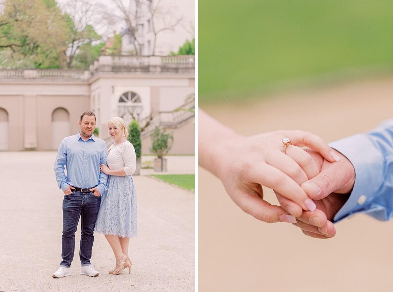 Paar im Körnerpark, reicht sich die Hände