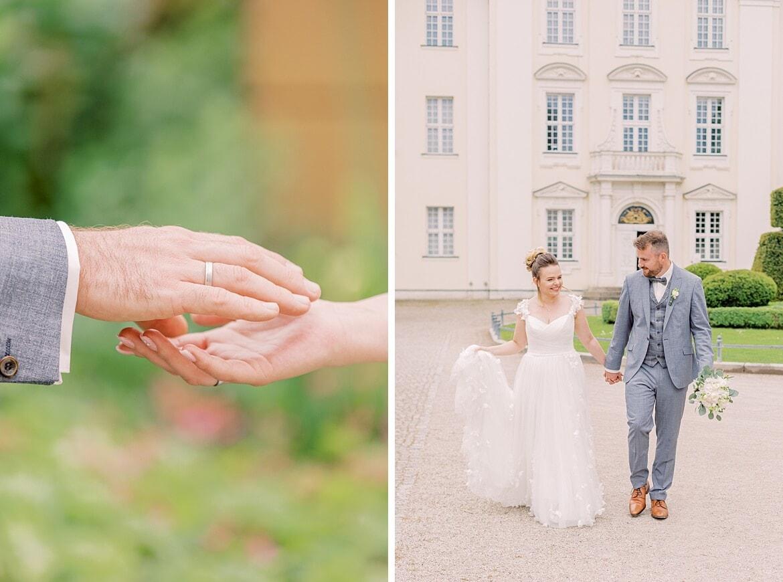 Brautpaar spaziert vor dem Schloss Köpenick