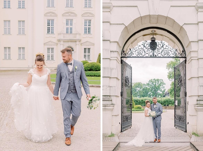 Brautpaar läuft vor dem Schloss Köpenick