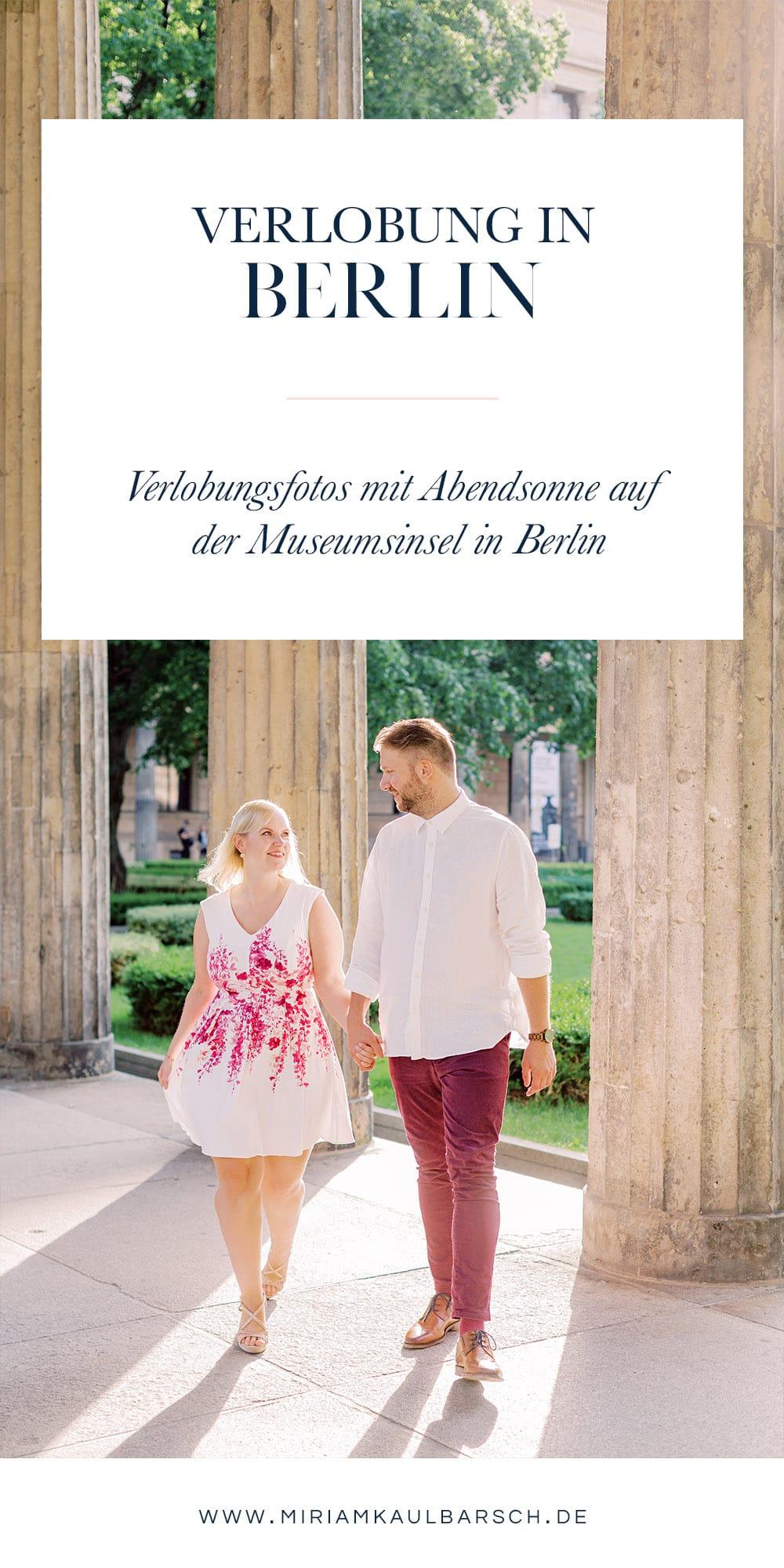 Verlobung mit Abendsonne auf der Museumsinsel in Berlin
