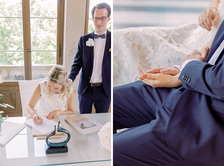 Brautpaar während der Trauung im Maurischen Kabinett