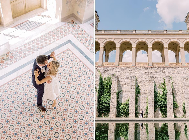 Brautpaar tanzt auf einem Mosaikboden