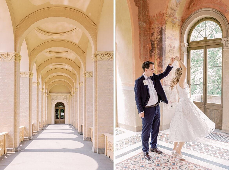 Brautpaar tanzt in einem Raum des Belvedere