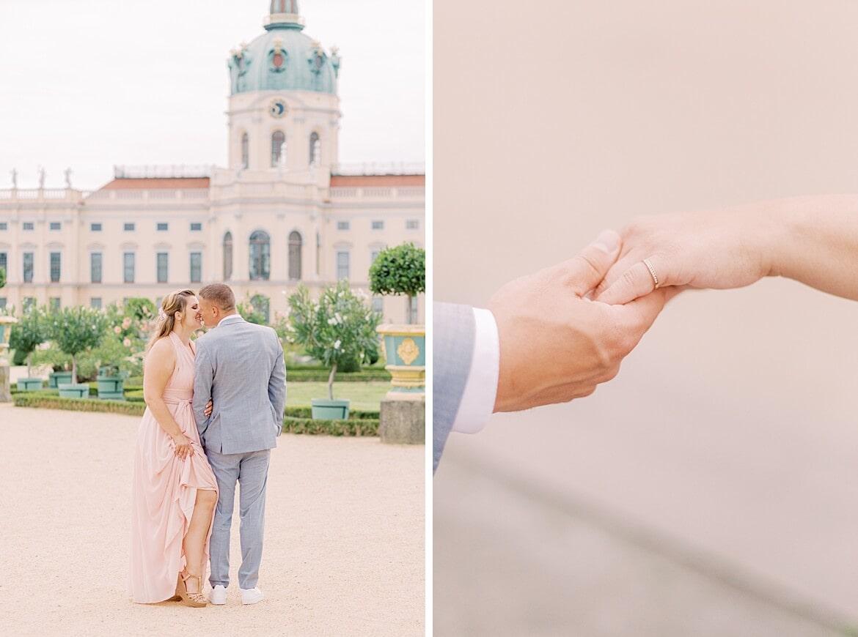 Paar im Park vom Schloss Charlottenburg küsst sich